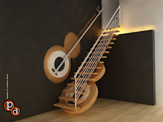 Guitar Staircase Modern corridor, hallway & stairs by Preetham Interior Designer Modern