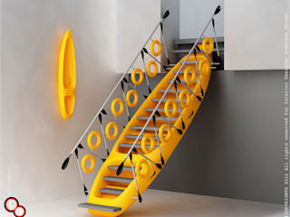 Kayak staircase yellow Preetham Interior Designer 現代風玄關、走廊與階梯