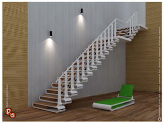 Staircase ---Nail cutter Modern corridor, hallway & stairs by Preetham Interior Designer Modern