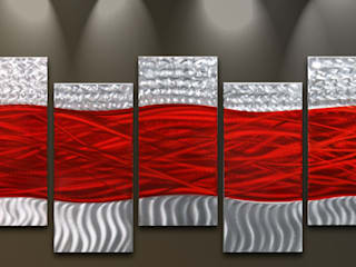 Metal Wall Art Red Waves:   by Matthew's Art Gallery