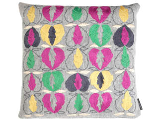 Kit Kemp Heart of Oak - Pink & Green on Grey:   by Fine Cell Work
