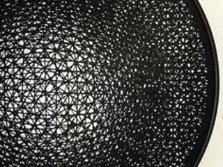 Géométrie variable, dévoré sur voile de ramie, 21 x 22 x 1 po, 2014:  de style  par Lucie Leroux Design Textile