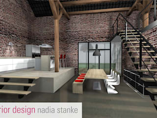 Sanierung einer Scheune : industriale Esszimmer von stanke interiordesign