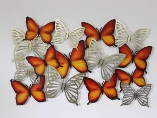 """Edelstahlbild """"Rote Schmetterlinge"""": modern  von Edelstahlbild,Modern"""