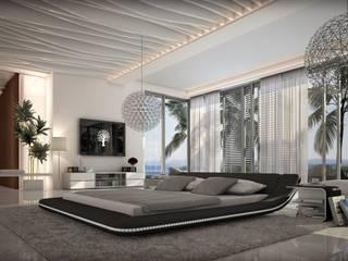 Lit design lumineux noir Victoria:  de style  par Mobilier Nitro