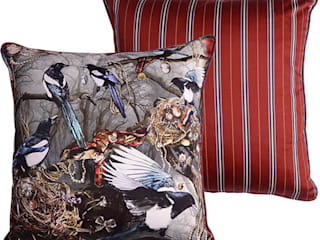 Magpie's Paradise cushion:   by Emily Humphrey Design