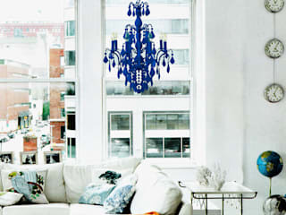 An electric blue flocked 8 lamp Jasmine chandelier:   by Thomas & Vines Ltd