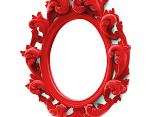 A Cardinal red flocked Versailles wall mirror:   by Thomas & Vines Ltd