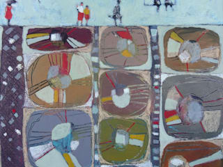 """tableau """" sur un mur de formes"""" par SIMON BELLEGO Moderne"""