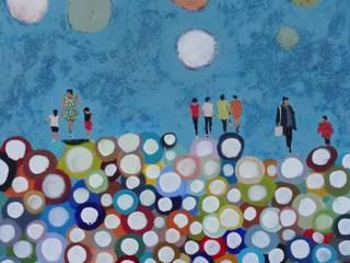 """tableau """"bulles multicolores"""" par SIMON BELLEGO Moderne"""