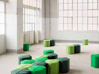 Modular footstools in the shape of a Leaf:   by design by nico