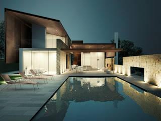 La zona piscina: Case in stile in stile Moderno di Storm Studio Architecture