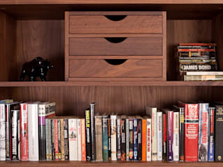 Solid Walnut Book Shelf With Drawers by NAKED Kitchens