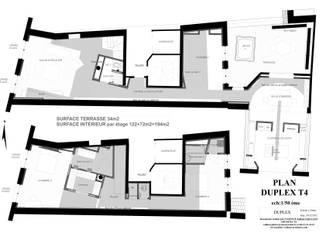 DUPLEX HAUT DE GAMME dans d'anciens plateaux/bureaux par AGENCE JULIETTE VAILLANT ARCHITECTE Éclectique