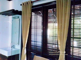 Wooden Blinds With Curtains:   by Clinque window blind systems