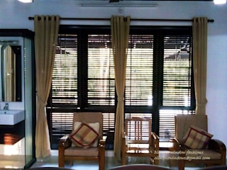 Wooden Blinds with Linen Fabric Curtains:   by Clinque window blind systems