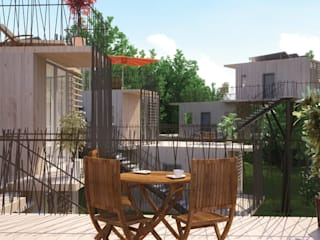 Maison dans les arbres Balcon, Veranda & Terrasse minimalistes par Pepindebanane Minimaliste
