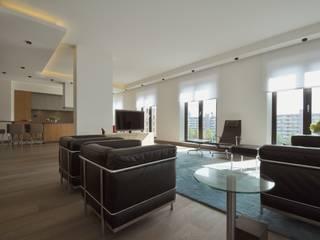 Appartement Amsterdam:  Woonkamer door Bobarchitectuur, Minimalistisch