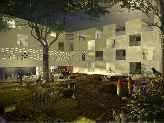 Jardin pour un hôtel 5 étoiles : Hôtels de style  par ATELIER CHARDON PAYSAGES