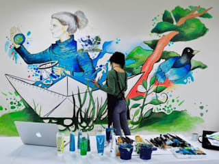 "​'Healing The World' mural for ""HEXAGON Ortho"" 根據 Gamze Yalçın Studio 現代風"