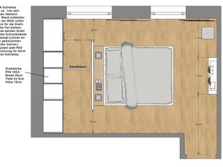 Schlafzimmer Wohnung P.    Betthaupt als Raumteiler:  Schlafzimmer von Innenarchitektur   Ina Nimmrichter