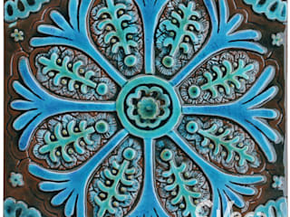 Individual wall tile based on Suzani fabric from Uzbekistan:   by Gvega Ceramica