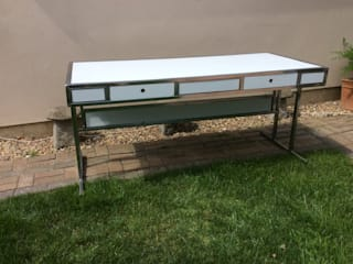 Industrial White & Chrome Metal Table :   by The Barn