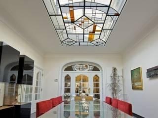 Modern art glas voor oud herehuis:   door artglas