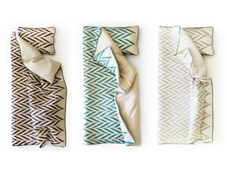 ZIGZAG printed linen bedding by Lovely Home Idea LOVELY HOME IDEA RecámarasTextiles