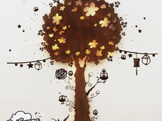 Wandlampe Zauberbaum Eulenbaum XL aus Holz mit Wandtattoo und LED ho08:   von Dalampa