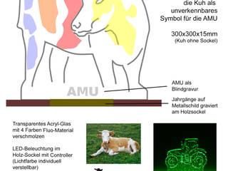 """Lichtobjekt aus Acryl-Glas und LED """"AMU-Kuh"""":   von Ywona e.U."""