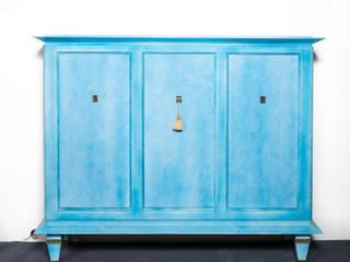 Cabinet in blue lacquer cloudy by Dominique circa 1940 de BDV Deco et Dany Art design Moderno