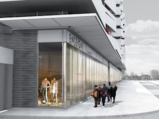 105 Logements, commerces, bureaux, jardins: Locaux commerciaux & Magasins de style  par Christian Larroque