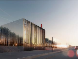 CONSTRUCTION DE LA CHAUFFERIE BIOMASSE BOISMARINE ET INTEGRATION URBAINE: Bureau de style  par Architecte en construction