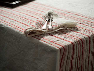Hand block printed linen tablecloth:   by AllÓRA