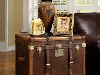 Classic Designs with Leather Vintage Side & Storage Trunks Locus Habitat Living roomStorage