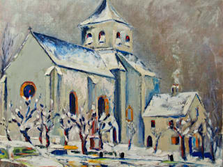 Eglise de Nauphle sous la neige:  de style  par Atelier d'artiste SYRIEX RD