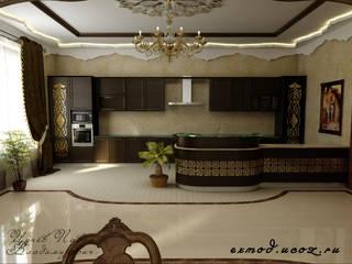 Интерьер холла - столовой в восточном стиле.: Столовые комнаты в . Автор – Цунёв_Дизайн. Студия интерьерных решений.