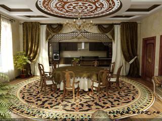 Интерьер холла - столовой в восточном стиле. Столовая комната в тропическом стиле от Цунёв_Дизайн. Студия интерьерных решений. Тропический