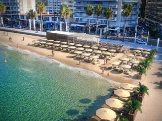 Perspective 3D plage modulaire à Juan les Pins Locaux commerciaux & Magasin méditerranéens par Vizion Studio Méditerranéen