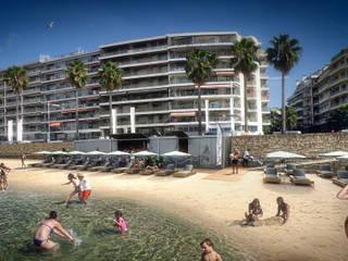 Intégration 3D pour la construction d'une plage modulaire Locaux commerciaux & Magasin méditerranéens par Vizion Studio Méditerranéen
