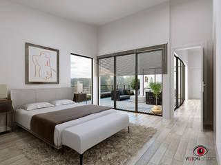 Perspectives 3D pour la commercialisation d'une maison individuelle Chambre moderne par Vizion Studio Moderne