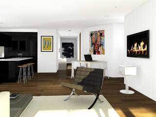 Architecture d'intérieur - Appartement en attique, Suisse Sandra Hisbèque Salon minimaliste