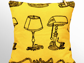 Chouchette – Chouchette 'Lamp' Cushion illustrated by artist Gabriela Vainsencher: modern tarz , Modern