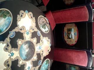 роспись тарелок ,мебели и панелей ,витражи в ресторане г,Кисловодска:  в . Автор – Абрикос