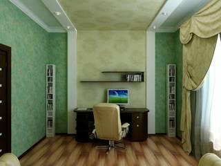 Кабинет в современной классике: Рабочие кабинеты в . Автор – Цунёв_Дизайн. Студия интерьерных решений.