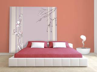 """Tête de lit originale pour une chambre aux couleurs très """"Girly"""".: Murs & Sols de style  par Belmon Déco"""