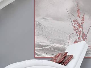 Décor mural création d'artiste , fleurs géantes et effet de matière.: Murs & Sols de style  par Belmon Déco