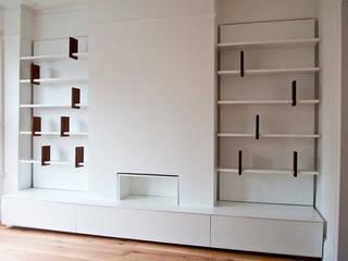 Bespoke Built-in Living Room Wall Dancing Bookshelf Modern living room by GO Modern