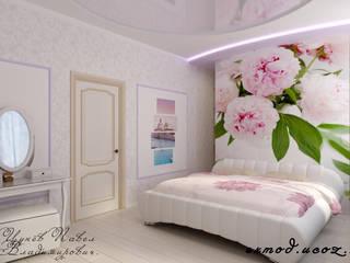 トロピカルスタイルの 寝室 の Цунёв_Дизайн. Студия интерьерных решений. トロピカル